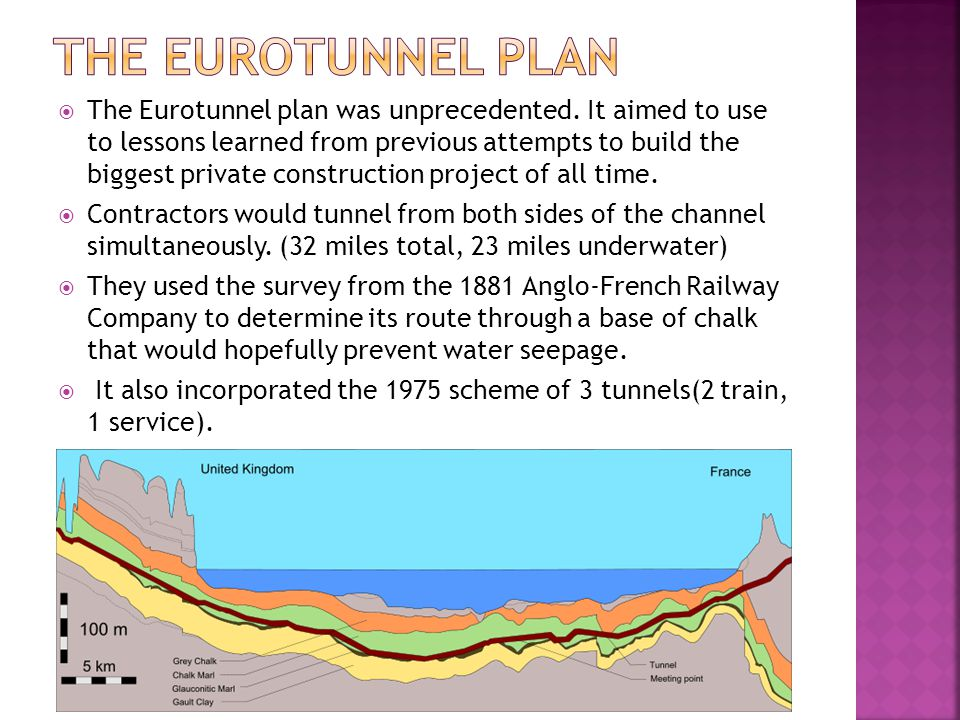  The Eurotunnel plan was unprecedented. It aimed to use to lessons learned from previous attempts to build the biggest private construction project o