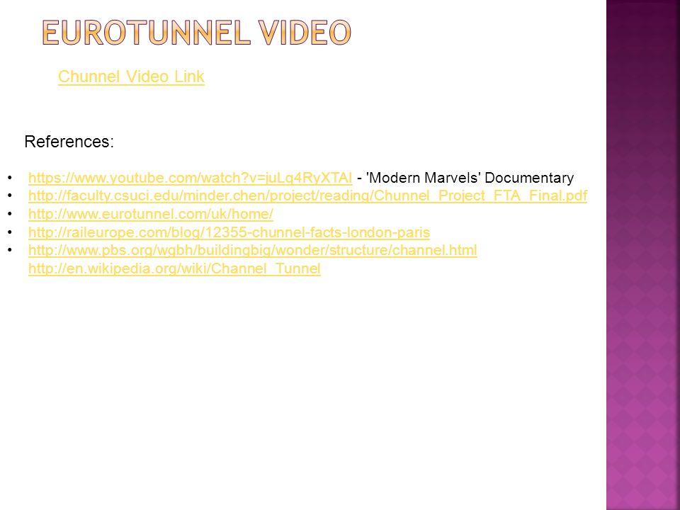 Chunnel Video Link https://www.youtube.com/watch?v=juLq4RyXTAI - 'Modern Marvels' Documentaryhttps://www.youtube.com/watch?v=juLq4RyXTAI http://facult