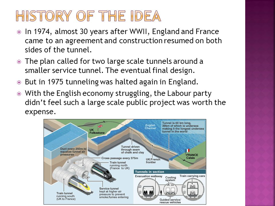  In 1974, almost 30 years after WWII, England and France came to an agreement and construction resumed on both sides of the tunnel.  The plan called