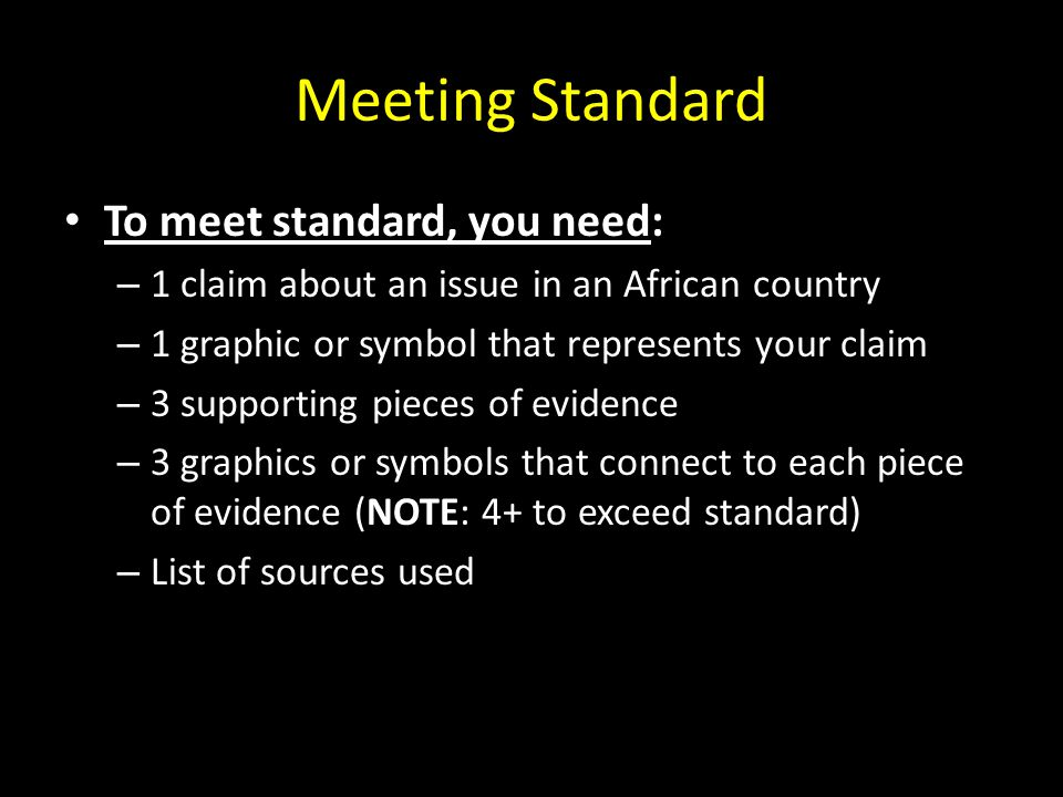 Meeting Standard To meet standard, you need: – 1 claim about an issue in an African country – 1 graphic or symbol that represents your claim – 3 supporting pieces of evidence – 3 graphics or symbols that connect to each piece of evidence (NOTE: 4+ to exceed standard) – List of sources used