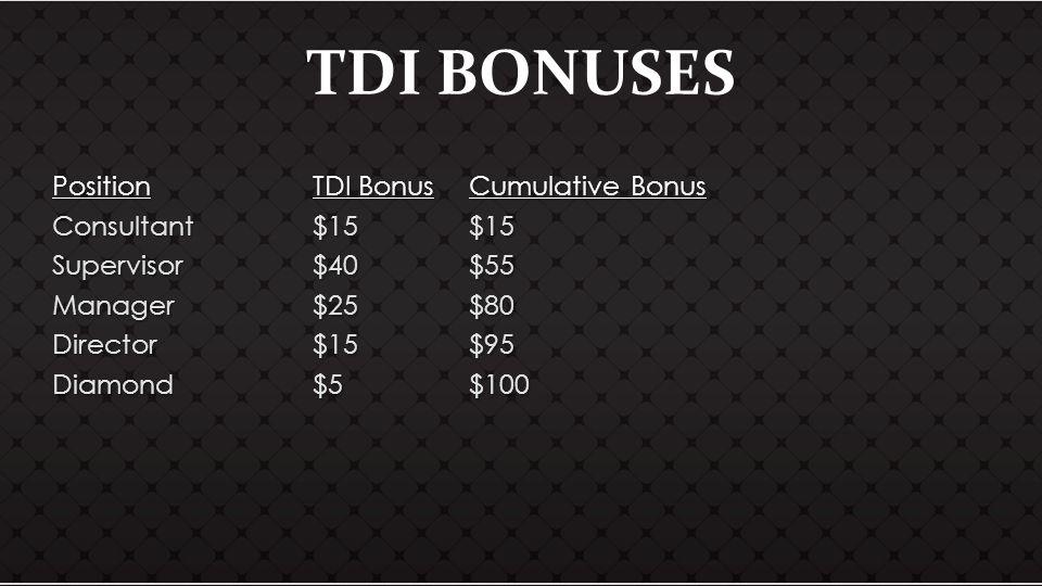 TDI BONUSES PositionTDI BonusCumulative Bonus Consultant$15$15 Supervisor$40$55 Manager$25$80 Director$15$95 Diamond$5$100