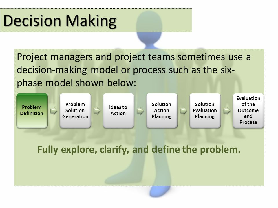 Decision Making Project managers and project teams sometimes use a decision-making model or process such as the six- phase model shown below: Problem Definition Problem Solution Generation Ideas to Action Solution Action Planning Solution Evaluation Planning Evaluation of the Outcome and Process Fully explore, clarify, and define the problem.