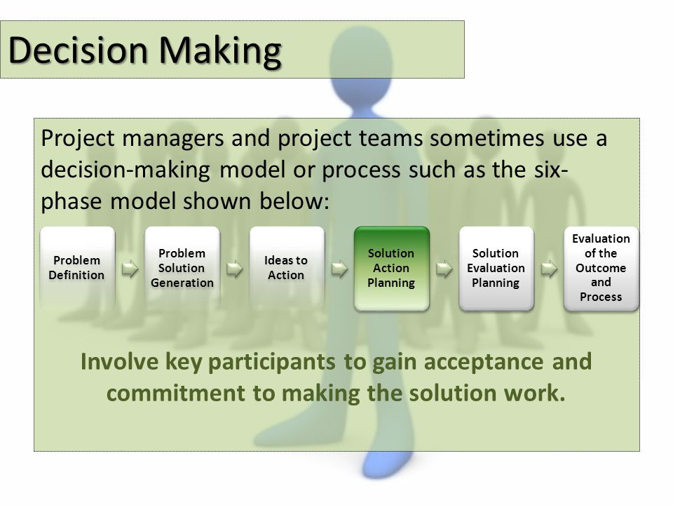 Decision Making Project managers and project teams sometimes use a decision-making model or process such as the six- phase model shown below: Problem Definition Problem Solution Generation Ideas to Action Solution Action Planning Solution Evaluation Planning Evaluation of the Outcome and Process Involve key participants to gain acceptance and commitment to making the solution work.