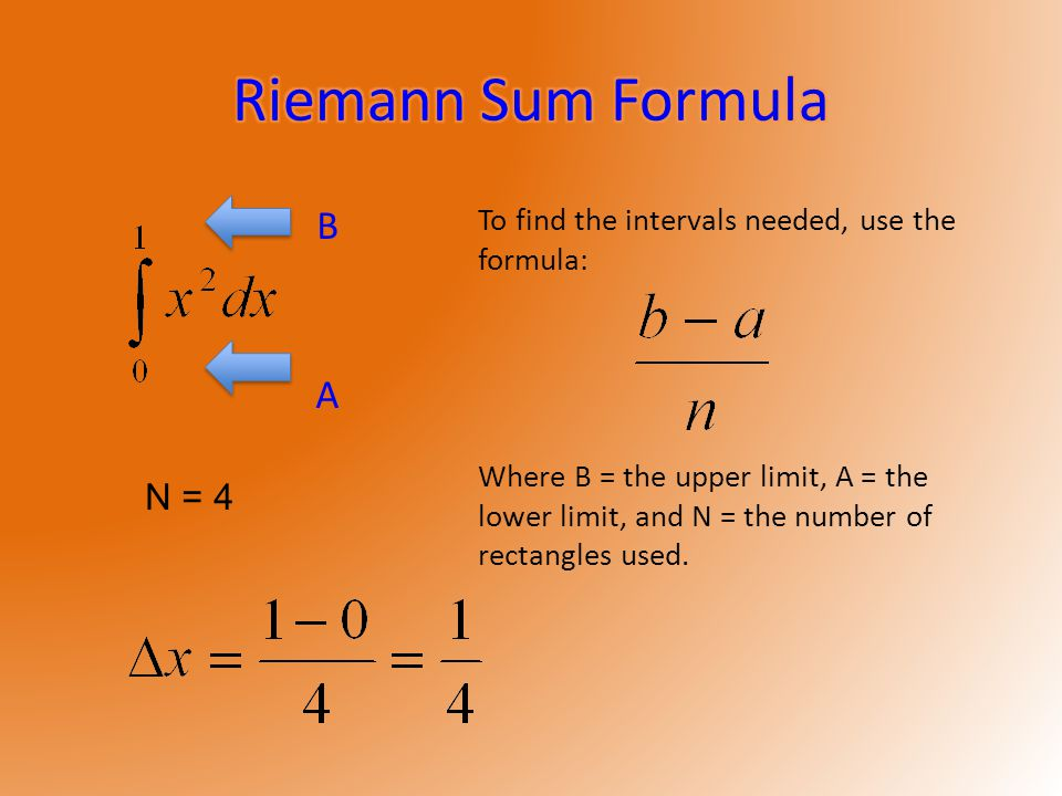 B A To find the intervals needed, use the formula: Where B = the upper limit, A = the lower limit, and N = the number of rectangles used.