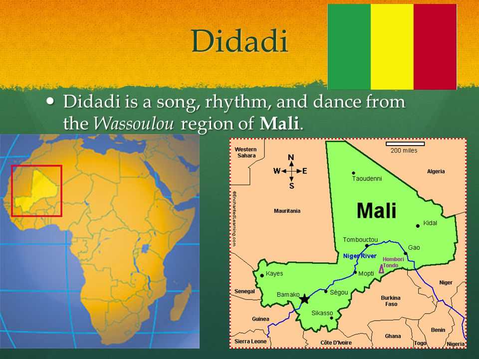 Didadi Didadi is a song, rhythm, and dance from the Wassoulou region of Mali. Didadi is a song, rhythm, and dance from the Wassoulou region of Mali.