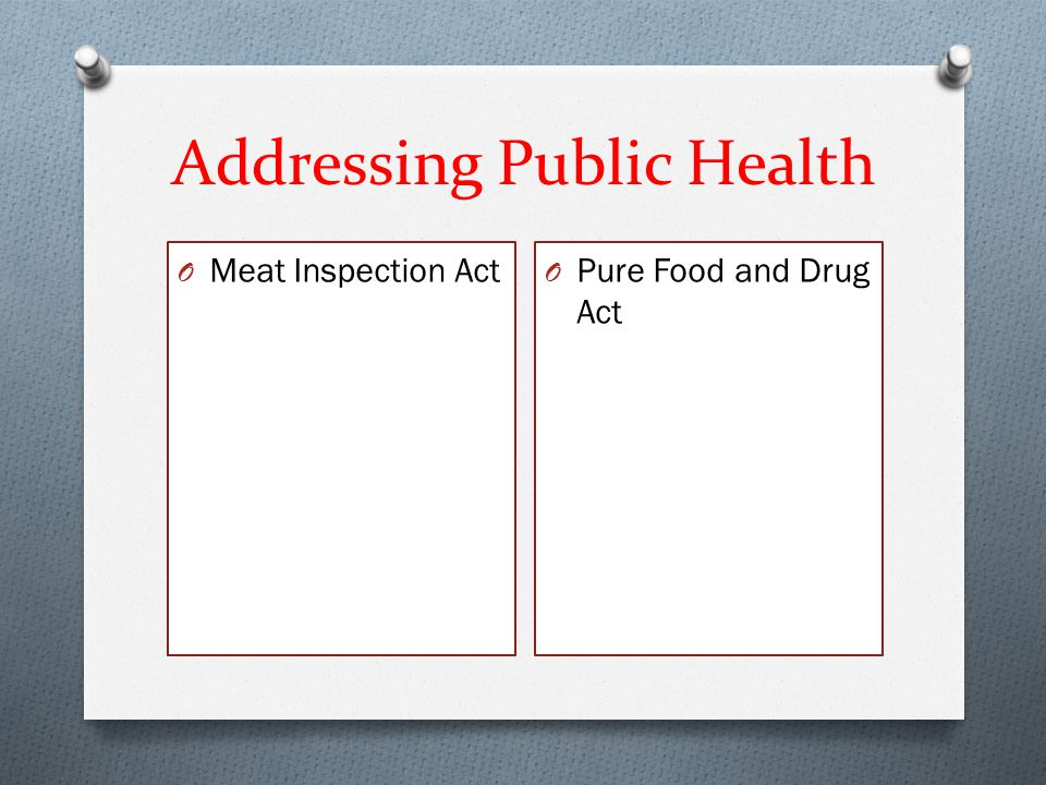 Addressing Public Health O Meat Inspection Act O Pure Food and Drug Act
