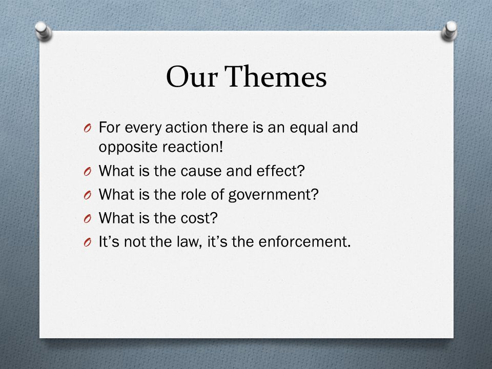Our Themes O For every action there is an equal and opposite reaction.
