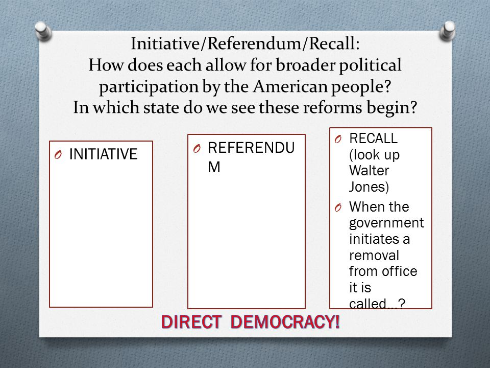 Initiative/Referendum/Recall: How does each allow for broader political participation by the American people.