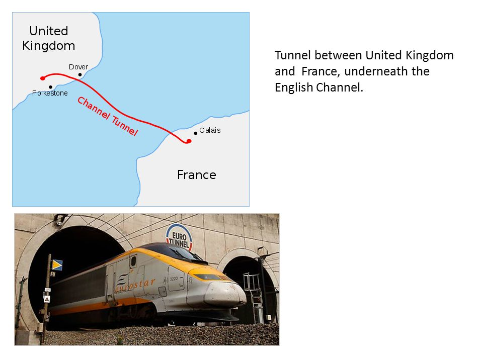 Tunnel between United Kingdom and France, underneath the English Channel.