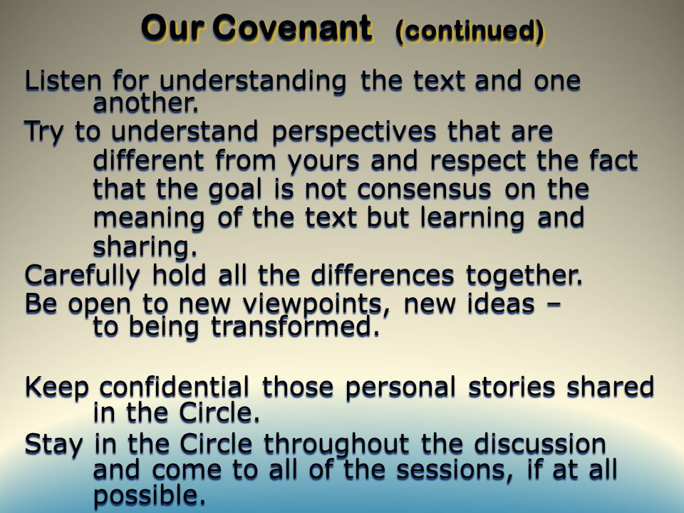 Listen for understanding the text and one another.