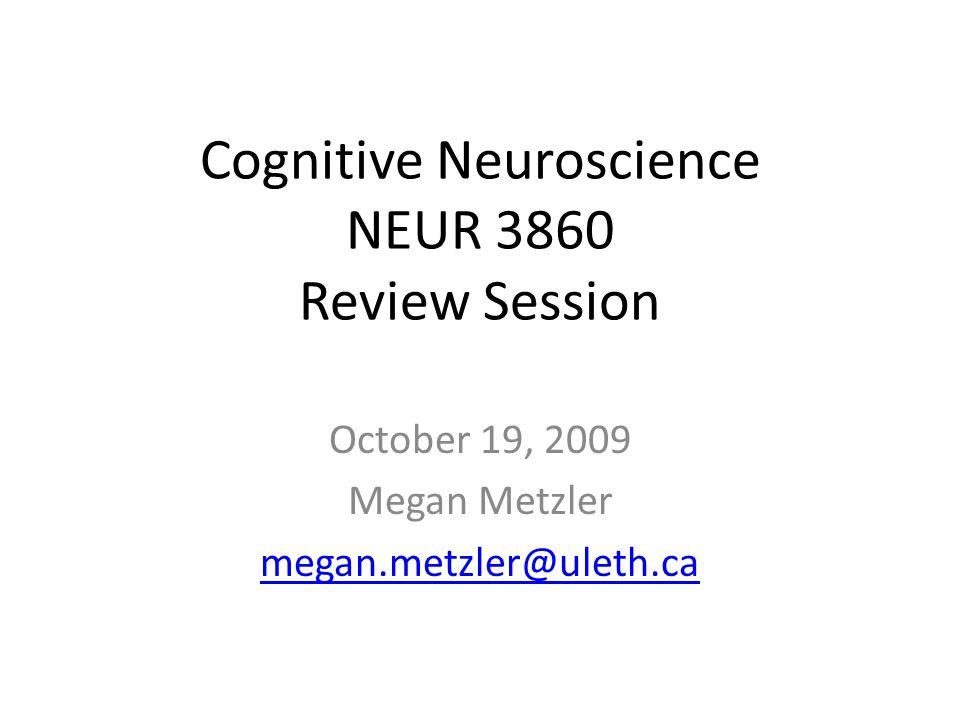 Cognitive Neuroscience NEUR 3860 Review Session October 19, 2009 Megan Metzler megan.metzler@uleth.ca