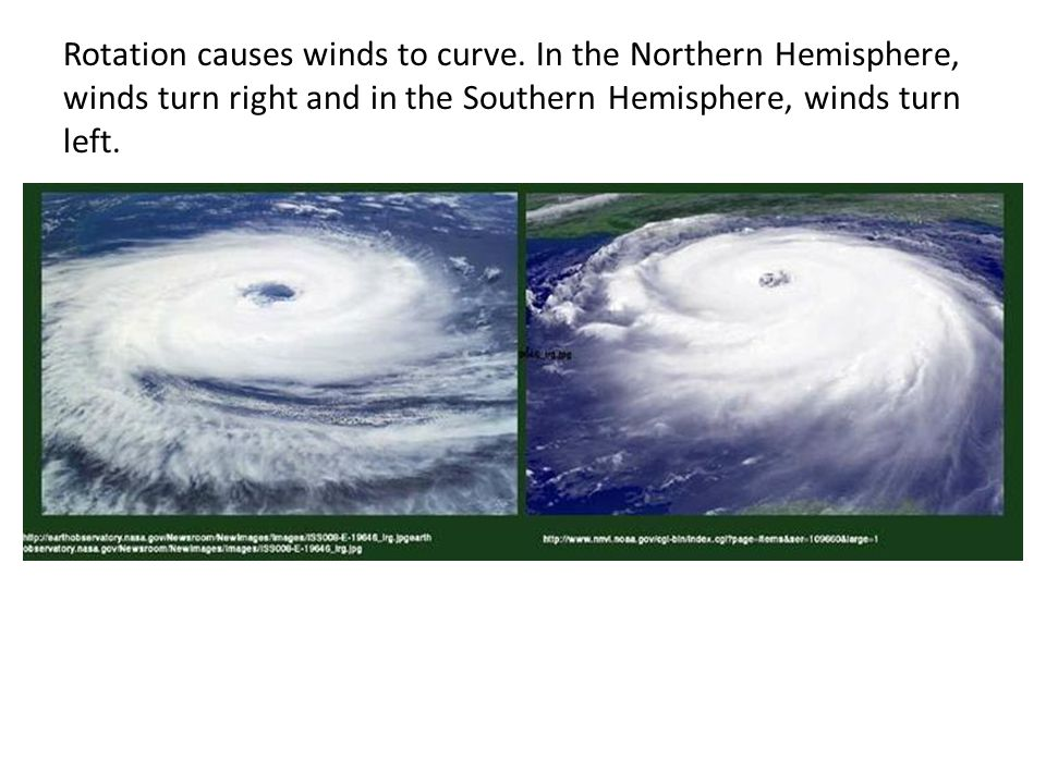 Rotation causes winds to curve.