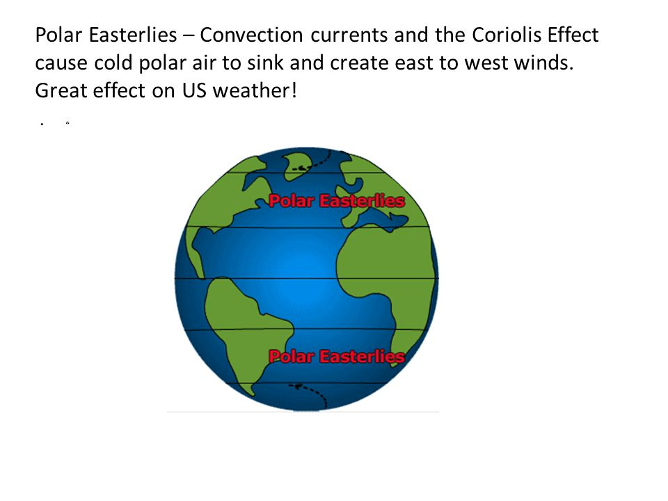 Polar Easterlies – Convection currents and the Coriolis Effect cause cold polar air to sink and create east to west winds.