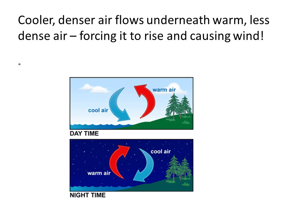 Cooler, denser air flows underneath warm, less dense air – forcing it to rise and causing wind! *