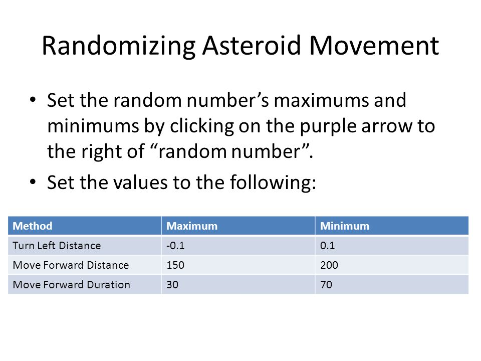 "Randomizing Asteroid Movement Set the random number's maximums and minimums by clicking on the purple arrow to the right of ""random number"". Set the v"