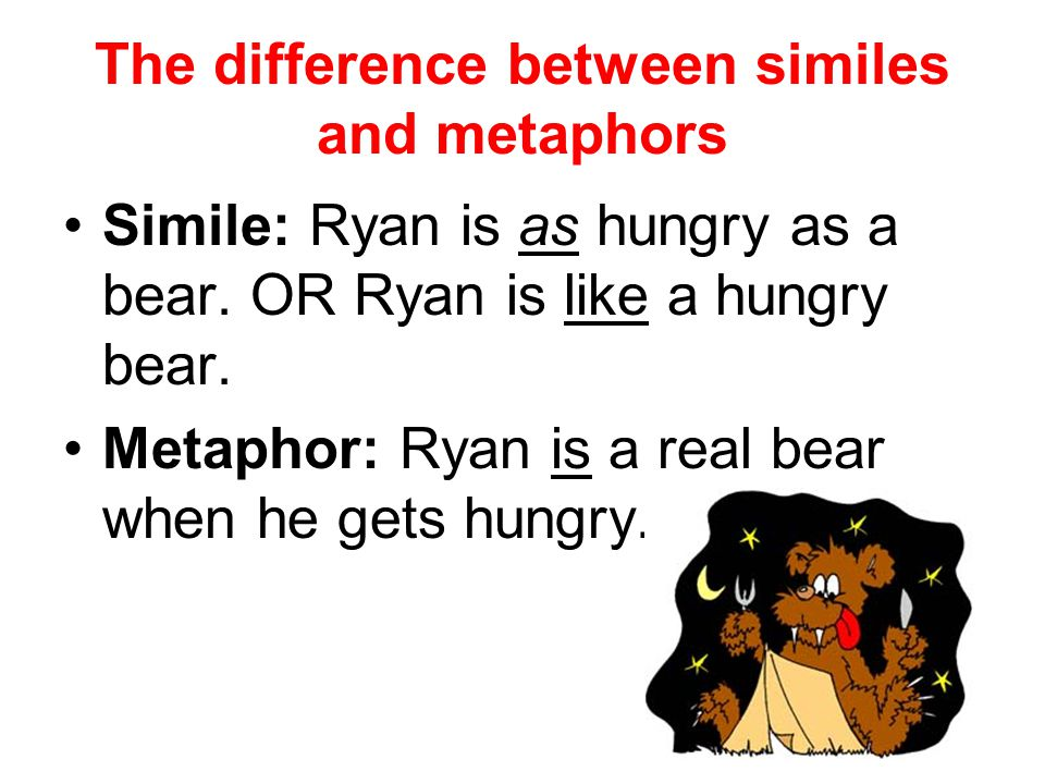 The difference between similes and metaphors Simile: Ryan is as hungry as a bear. OR Ryan is like a hungry bear. Metaphor: Ryan is a real bear when he