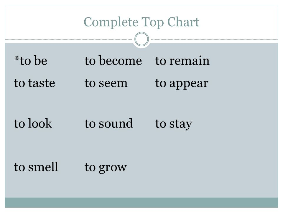 Complete Top Chart *to beto becometo remain to tasteto seem to appear to look to sound to stay to smellto grow