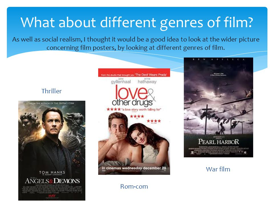 From looking at these posters from 3 different genres of film, I can see there are considerable differences.