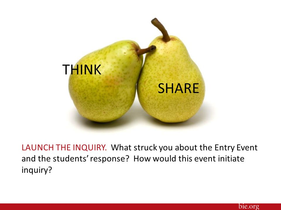 LAUNCH THE INQUIRY. What struck you about the Entry Event and the students' response? How would this event initiate inquiry? THINK SHARE