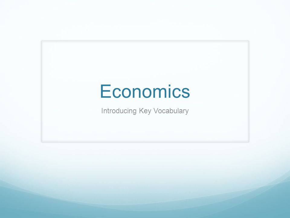 Economics Introducing Key Vocabulary