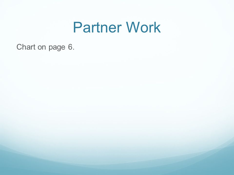 Partner Work Chart on page 6.