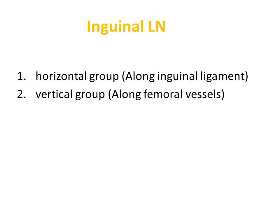 1. horizontal group (Along inguinal ligament) 2. vertical group (Along femoral vessels)