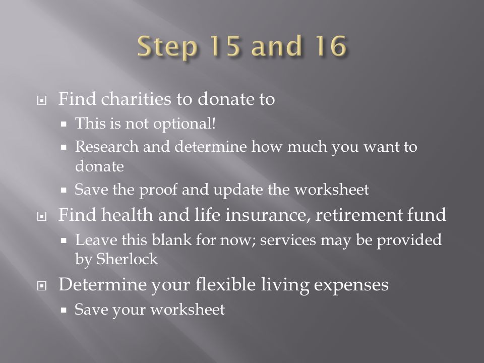  Find charities to donate to  This is not optional.