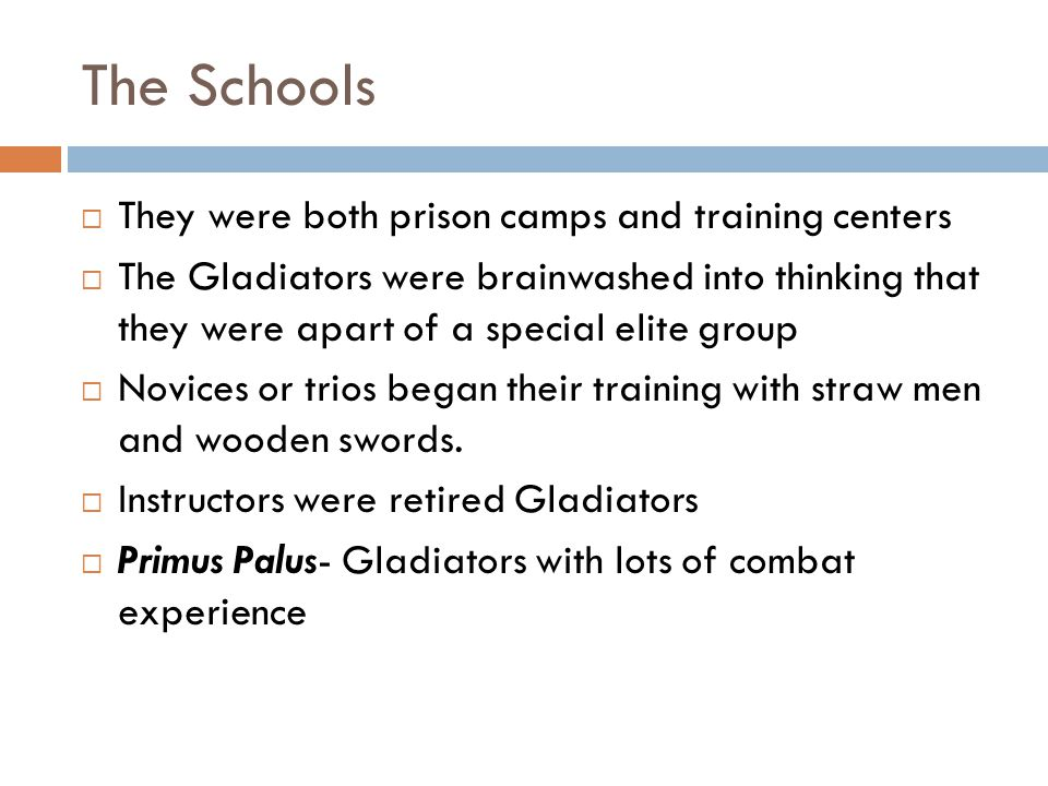 The Schools  They were both prison camps and training centers  The Gladiators were brainwashed into thinking that they were apart of a special elite group  Novices or trios began their training with straw men and wooden swords.