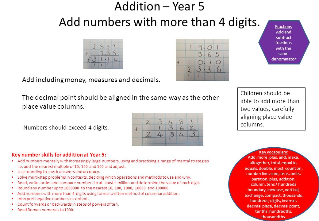 Addition – Year 5 Add numbers with more than 4 digits. Add including money, measures and decimals. The decimal point should be aligned in the same way