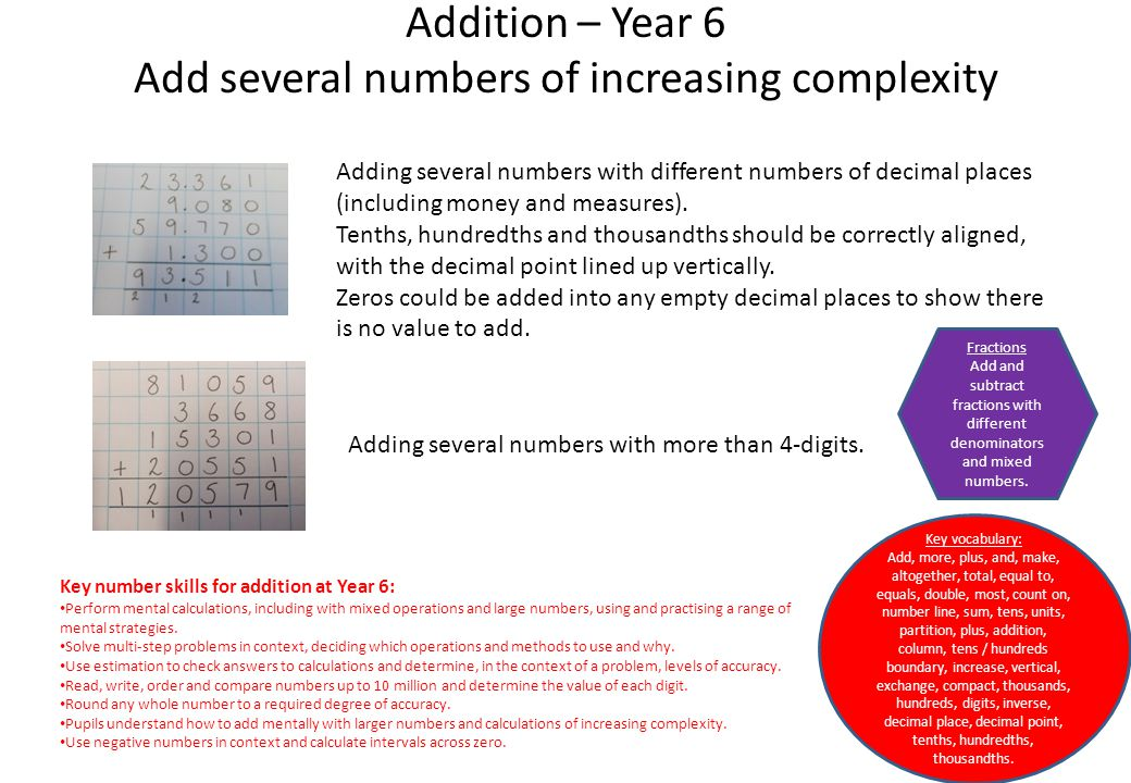 Addition – Year 6 Add several numbers of increasing complexity Adding several numbers with different numbers of decimal places (including money and me