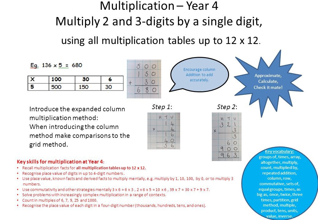 Multiplication – Year 4 Multiply 2 and 3-digits by a single digit, using all multiplication tables up to 12 x 12. Key skills for multiplication at Yea