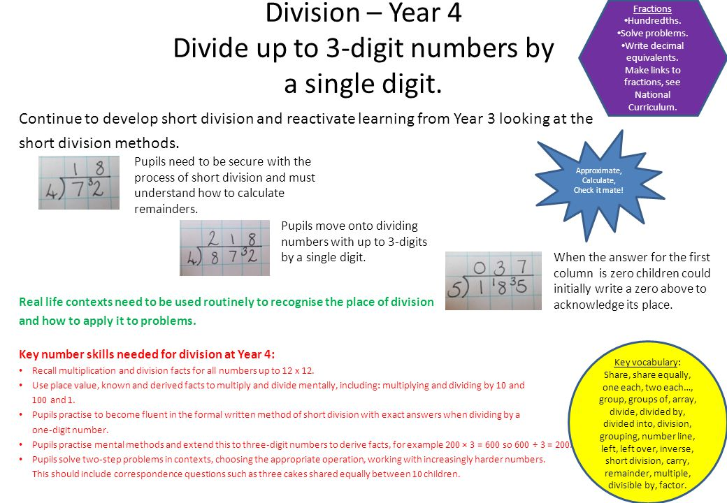 Continue to develop short division and reactivate learning from Year 3 looking at the short division methods. Real life contexts need to be used routi