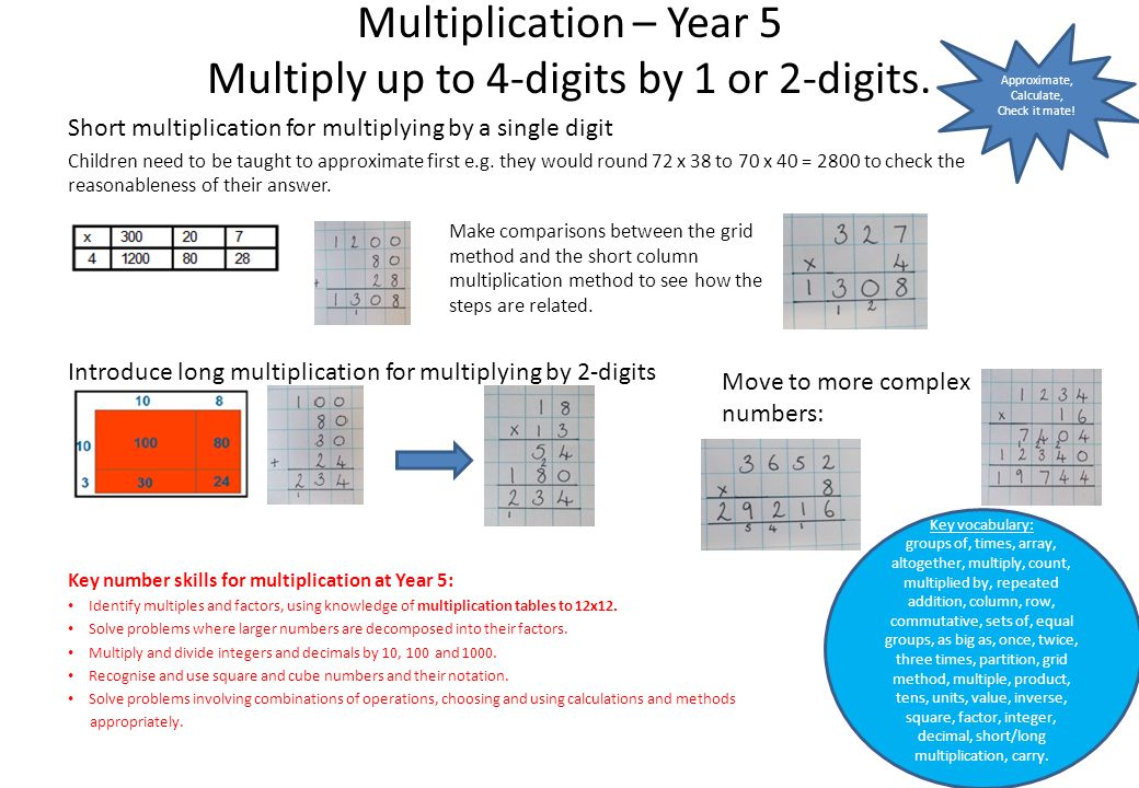 Multiplication – Year 5 Multiply up to 4-digits by 1 or 2-digits. Short multiplication for multiplying by a single digit Children need to be taught to