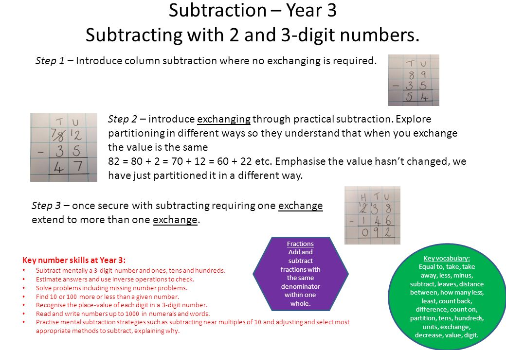 Subtraction – Year 3 Subtracting with 2 and 3-digit numbers. Step 1 – Introduce column subtraction where no exchanging is required. Step 2 – introduce