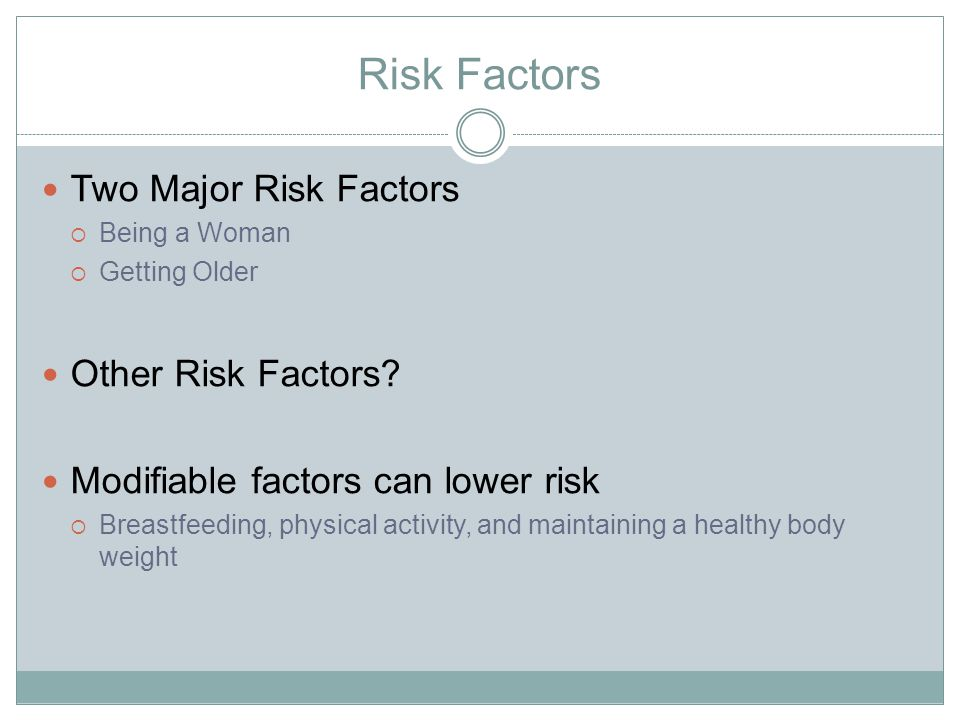 Two Major Risk Factors  Being a Woman  Getting Older Other Risk Factors.