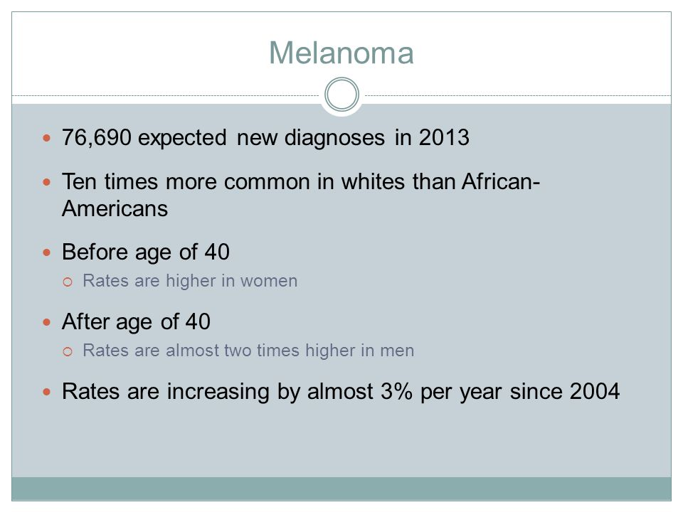 Melanoma 76,690 expected new diagnoses in 2013 Ten times more common in whites than African- Americans Before age of 40  Rates are higher in women After age of 40  Rates are almost two times higher in men Rates are increasing by almost 3% per year since 2004