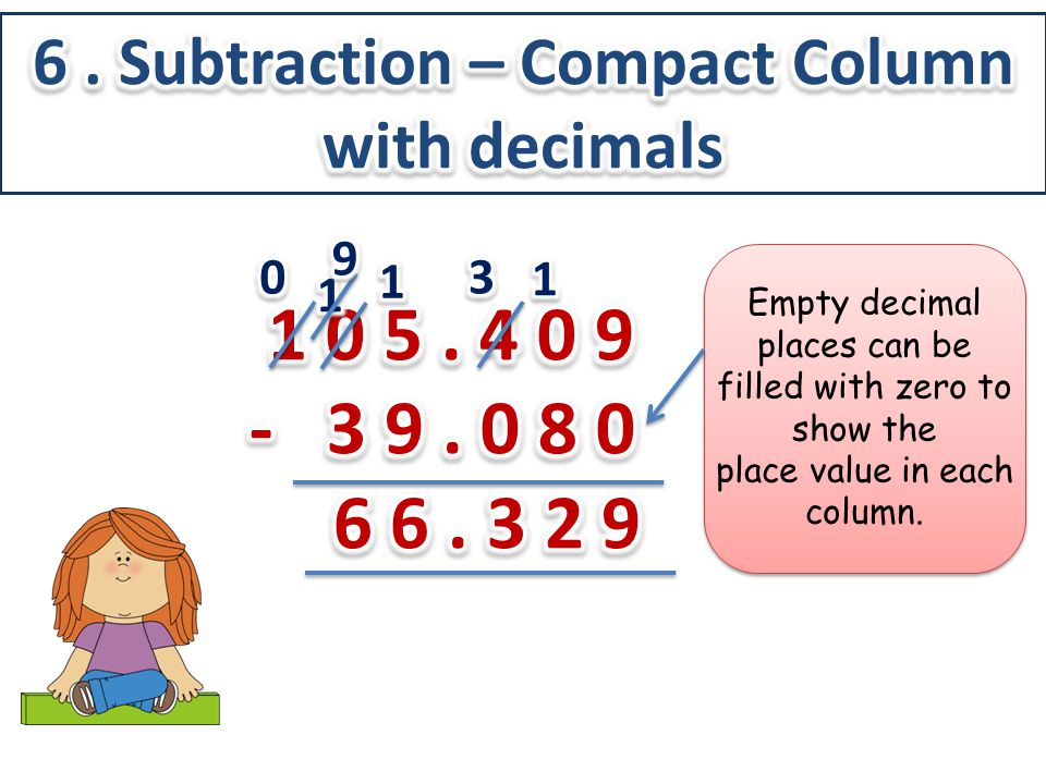 Empty decimal places can be filled with zero to show the place value in each column.