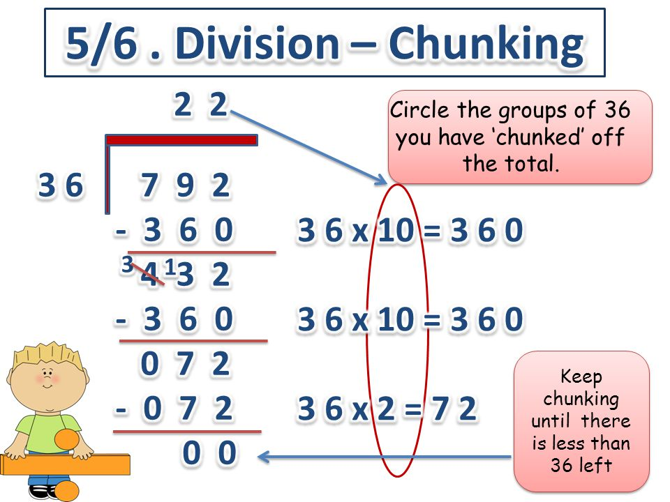 Circle the groups of 36 you have 'chunked' off the total. Keep chunking until there is less than 36 left
