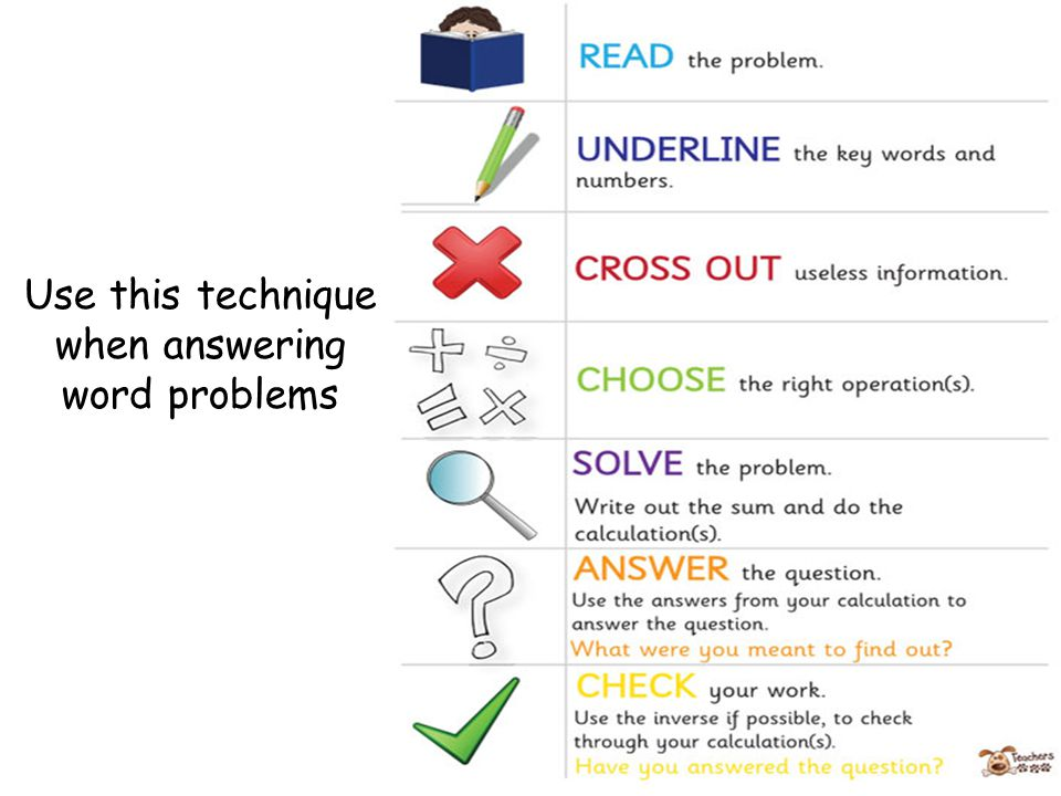 Use this technique when answering word problems