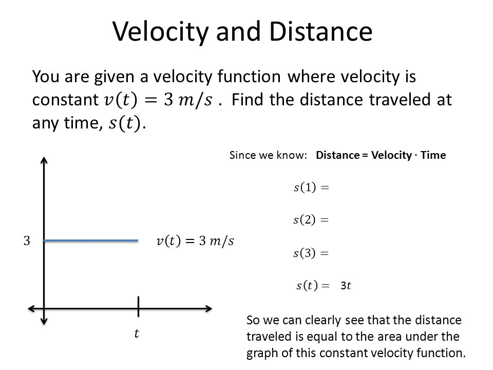Velocity and Distance What if velocity is not constant.