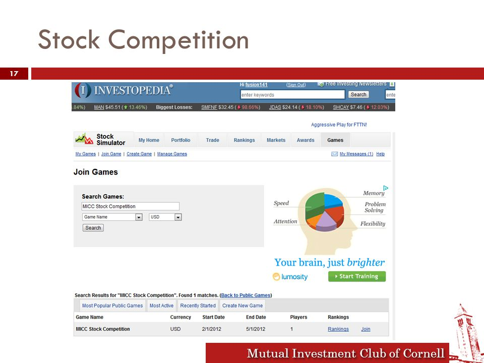 Mutual Investment Club of Cornell Stock Competition 17