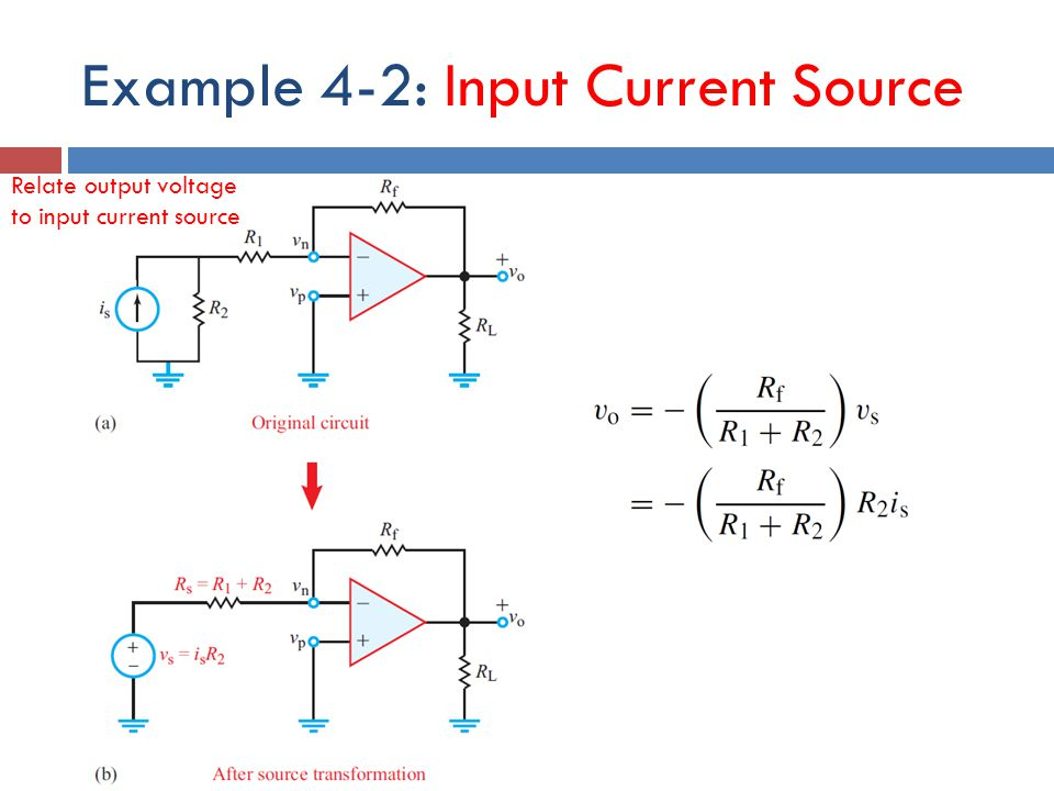 Example 4-2: Input Current Source Relate output voltage to input current source