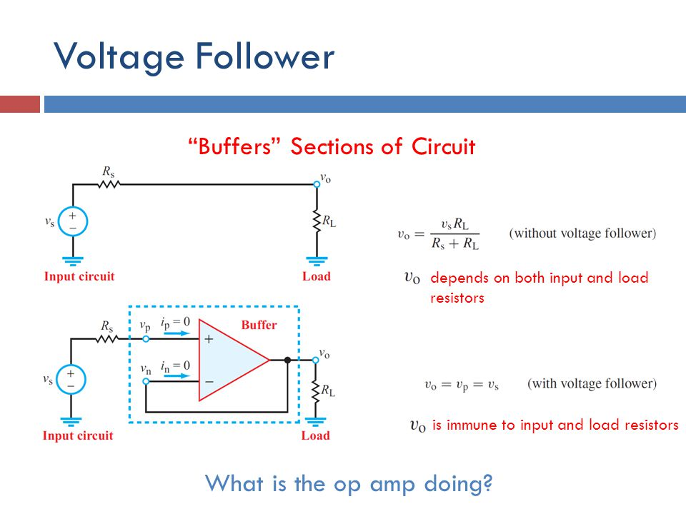 Voltage Follower Buffers Sections of Circuit What is the op amp doing.