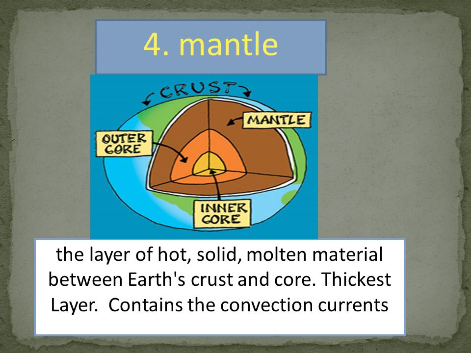 4.mantle the layer of hot, solid, molten material between Earth s crust and core.