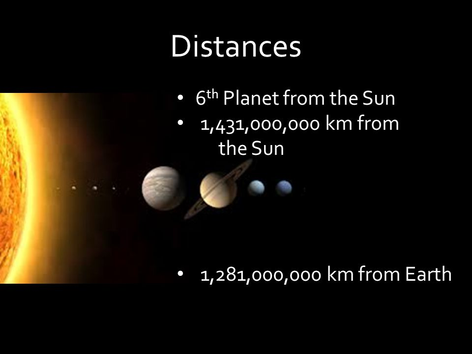 Distances 6 th Planet from the Sun 1,431,000,000 km from the Sun 1,281,000,000 km from Earth