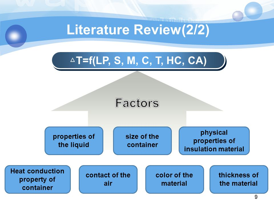 Literature Review(2/2) △ T=f(LP, S, M, C, T, HC, CA) 9 properties of the liquid size of the container Heat conduction property of container physical properties of insulation material contact of the air color of the material thickness of the material