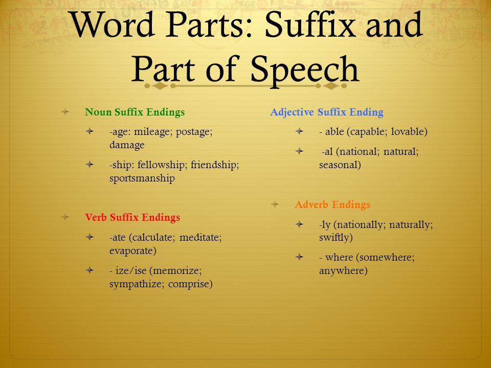 Word Parts: Suffix and Part of Speech  Noun Suffix Endings  -age: mileage; postage; damage  -ship: fellowship; friendship; sportsmanship  Verb Suf