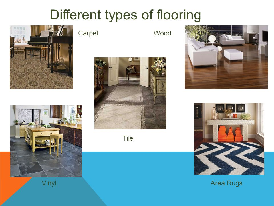 Different types of flooring Carpet Tile Wood VinylArea Rugs