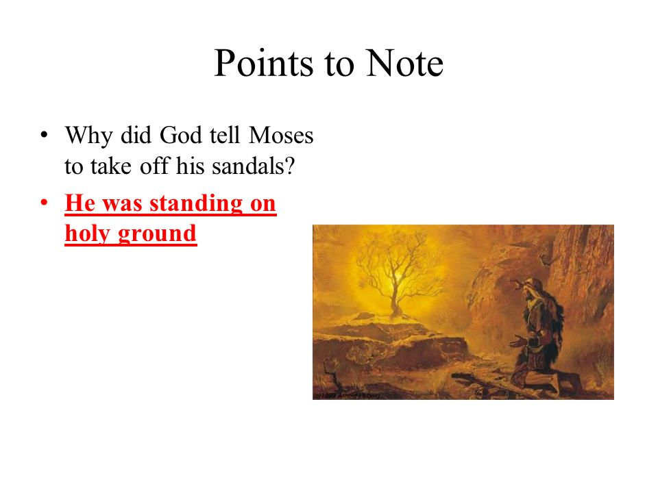 Points to Note Why did God tell Moses to take off his sandals He was standing on holy ground