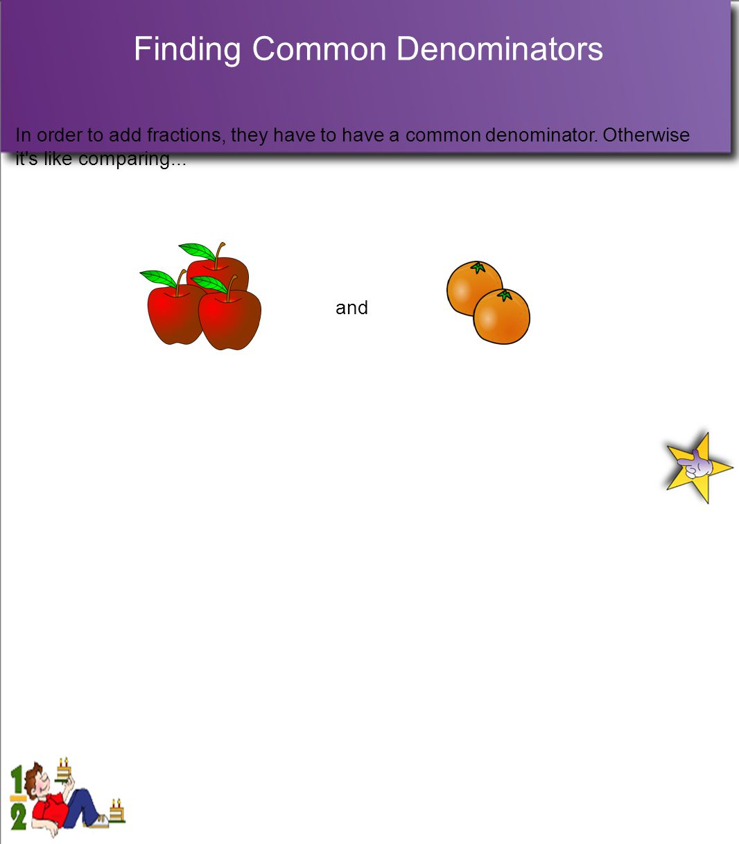 Finding Common Denominators In order to add fractions, they have to have a common denominator.
